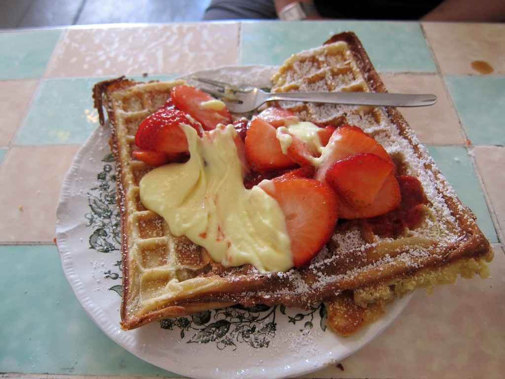 Waffle with Custard and Strawberries